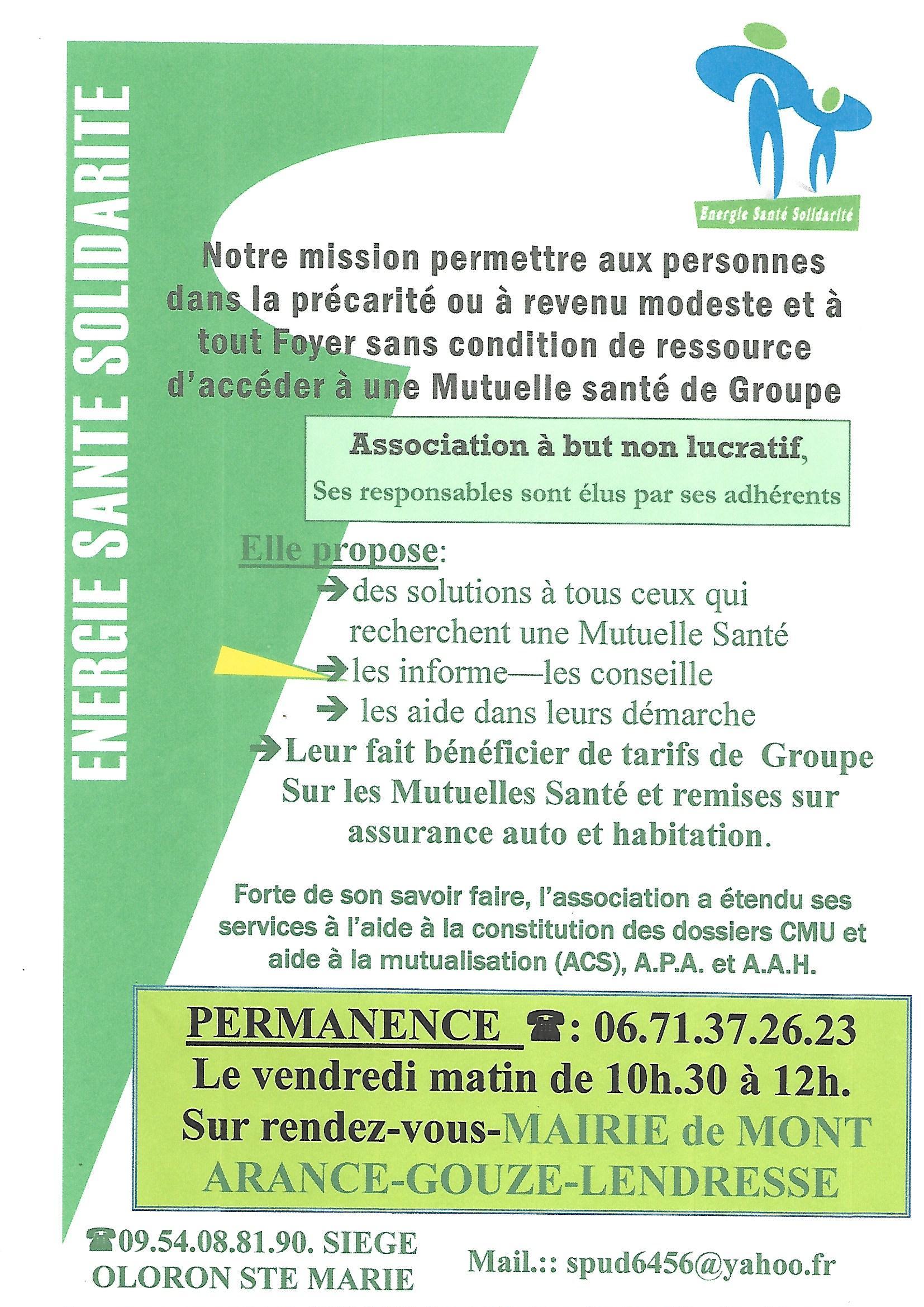 Permanence de l association energie sant solidarit commune de mont arance gouze lendresse - Pacte energie solidarite 2017 ...